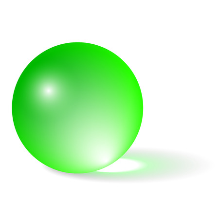 Transparent Green Sphere Isolated on White Background