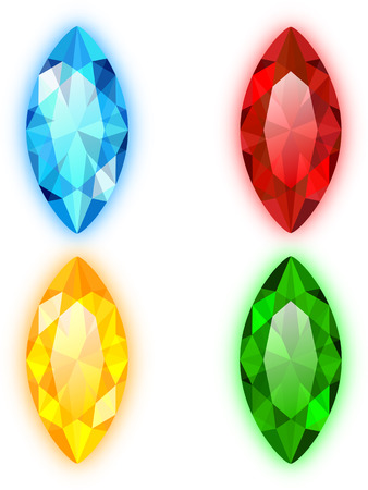 Set of Four Gems Marquise Shaped Stock Vector - 22260083