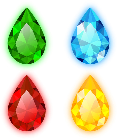 The Set of Four Colorful Gems Pear Shaped. Vector Design. Objects are Isolated on White