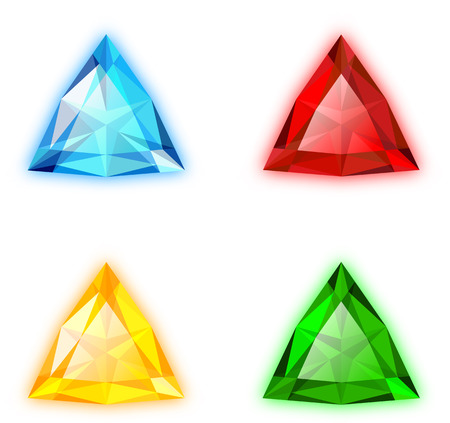 The Set of Four Colorful Gems Trilliant Shaped Illustration
