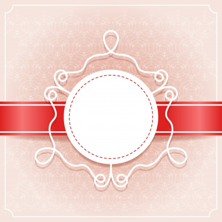 Invitation card with red ribbon, pattern and frame for text