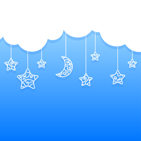 Blue Background with Clouds and Hanging Moon, Stars Vector