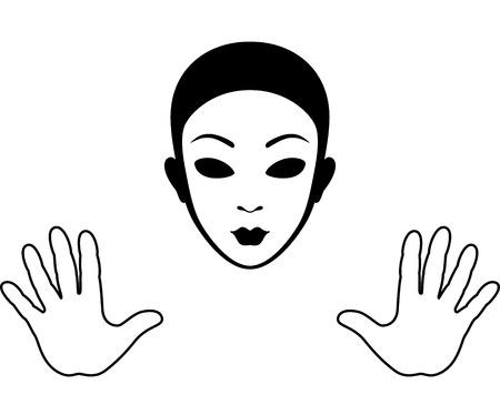 pantomima: Mime m�scara y las manos silueta aislados en blanco Vectores