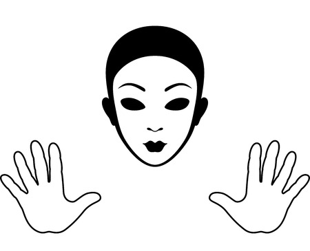 Mime Mask and Hands Silhouette Isolated on White Vector