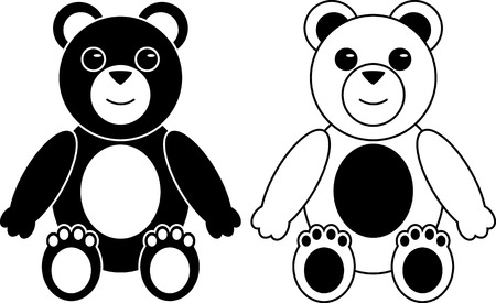 Black and White Silhouettes of Teddy Bears Isolated on White Vector