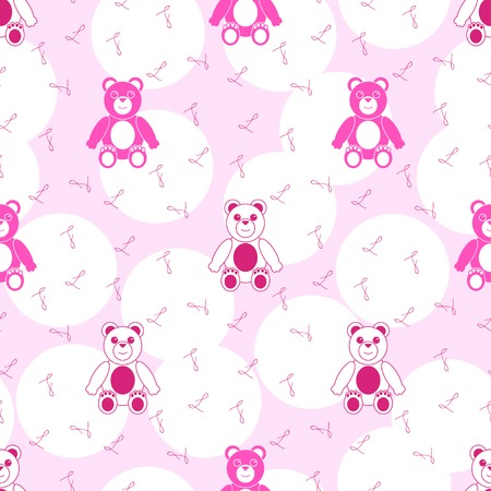 Pink Seamless Pattern with Teddy Bear Vector