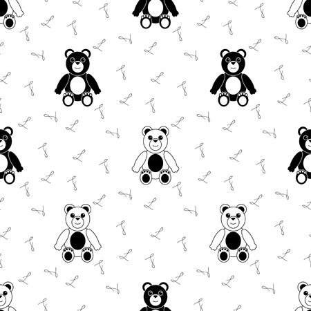 plushie: Black and White Seamless Pattern with Teddy Bear