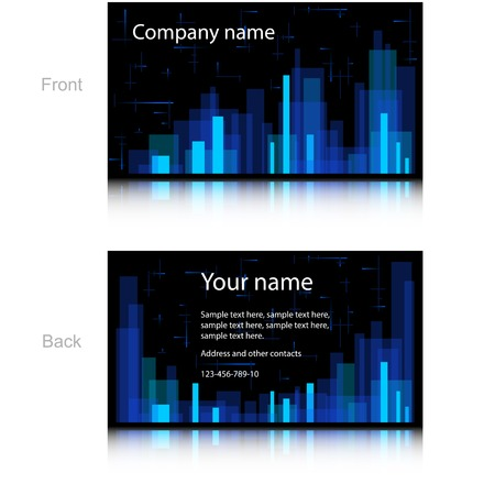 Black Business Card with Colorful Rectangles. Vector Design Vector