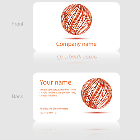 White Business Card with Abstract Circle Illustration