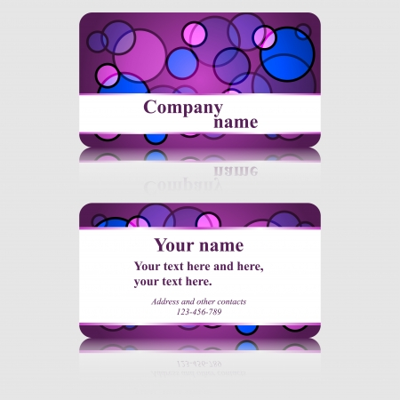 Purple Business Card with Colorful Circles Illustration