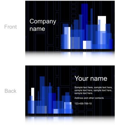 Black Business Card with Blue Rectangles. Vector Design Illustration