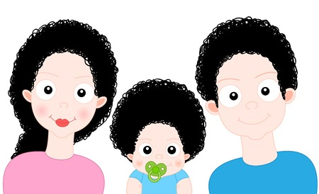 Cartoon Sweet Family with baby photo