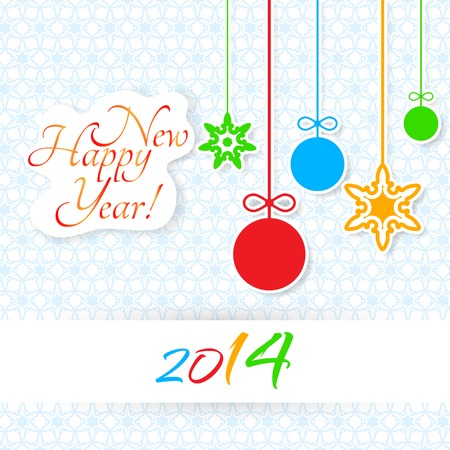 Light Happy New Year lettering Greeting Card Illustration