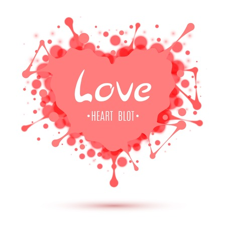 Abstract heart blot isolated on white background
