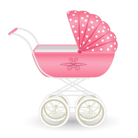 baby carriage: Sweet pink pram isolated on white background Illustration