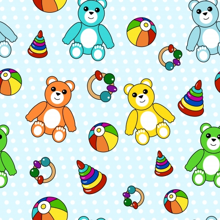Colorful seamless pattern with toys for textile or etc Stock Vector - 23186883