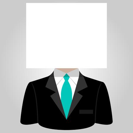 businesslike: Hombre con una hoja de papel blanco en la cabeza Vectores