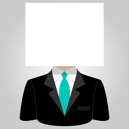businesslike: Man with a white paper sheet on the head Illustration