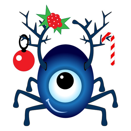 cyclops: Cartoon Christmas Cyclops isolated on white background Illustration