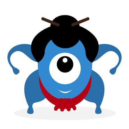 cyclops: Funny cartoon sumo wrestler cyclops isolated on white