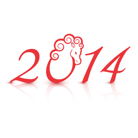 Vector illustration for the 2014 new year with horse Vector