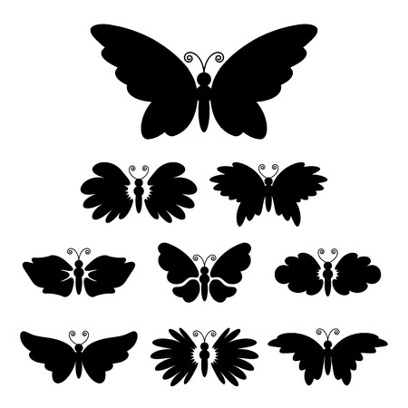 Set of nine black silhouettes of butterflys isolated on white Vector