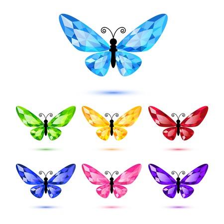 ダイヤモンド蝶の装飾のための白で隔離されるのセット