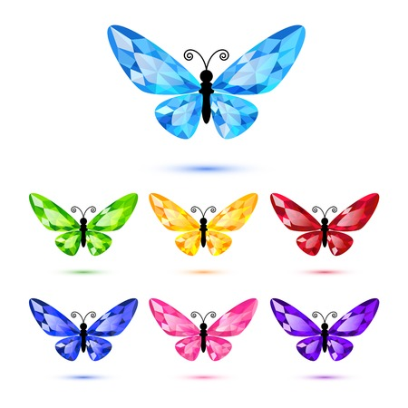 Set of diamond butterflies isolated on white for decoration Vector