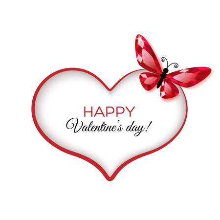 Happy Valentines Day Greeting card with ruby butterfly Vector