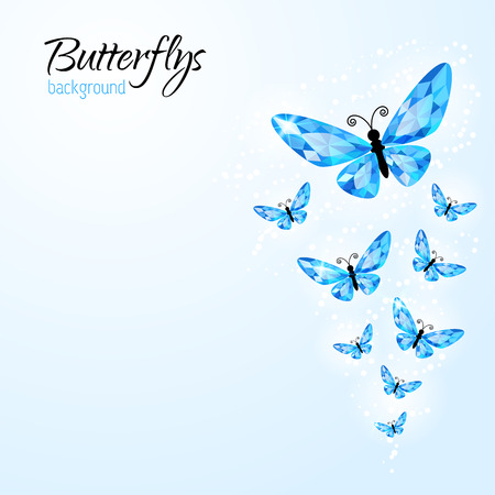 Abstract background with diamond butterflies for your design Vector