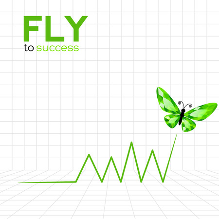 Success graphic with emerald butterfly. Vector Illustration Illustration