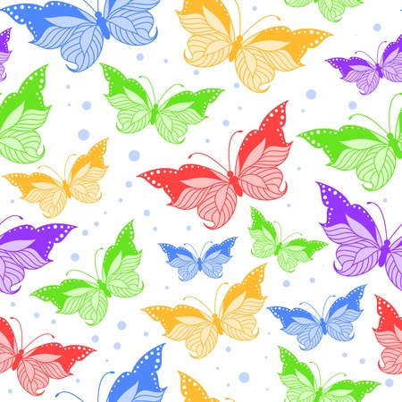 Seamless pattern with colorful butterflies on white background Illustration