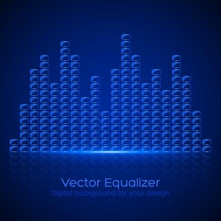vibrations: Glass Equalizer on dark background. Vector illustration