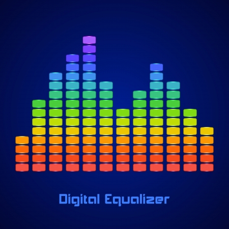 Rainbow Equalizer on dark background. Vector illustration Stock Vector - 24895869