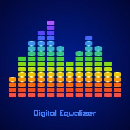 Rainbow Equalizer on dark background. Vector illustration Stock Vector - 24895869