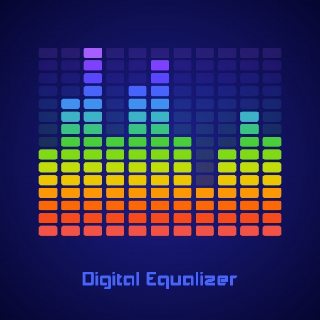 Rainbow Equalizer on dark background. Vector illustration Stock Vector - 24895870