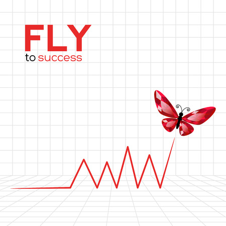 analyst: Success graphic with ruby butterfly  Vector Illustration Illustration