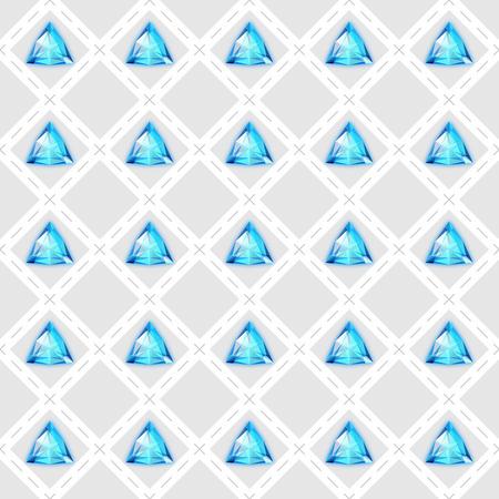Seamless pattern with blue gemstones. Vector illustration