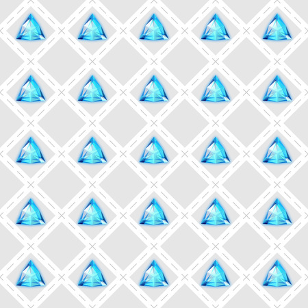 trilliant: Seamless pattern with blue gemstones. Vector illustration
