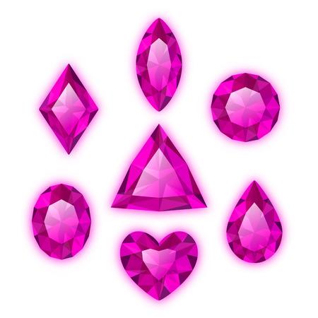 Set of gems isolated on white background