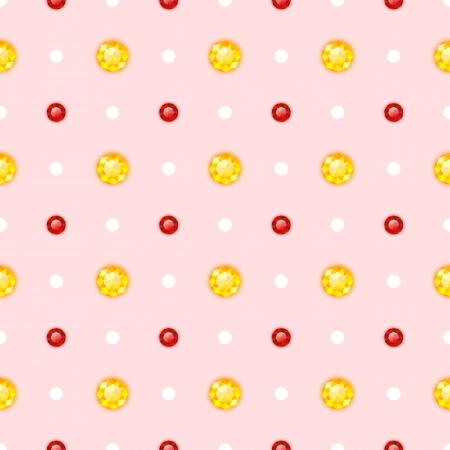 trilliant: Seamless pattern with red and yellow gemstones. Vector illustration