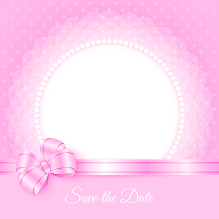 Save the Date. Card template with beads and bow