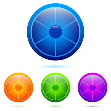 Set of colorful segmented buttons from six divisions Vector