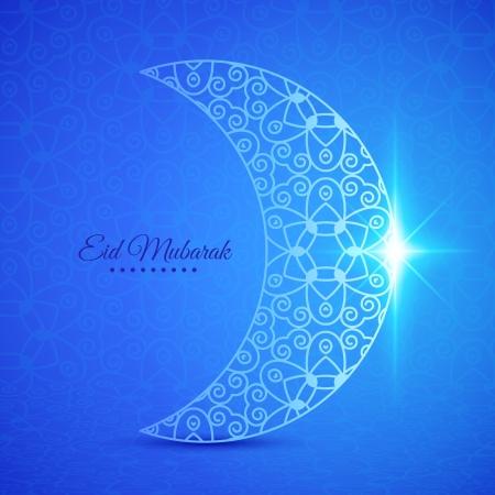 Greeting card with moon for Muslim community festival Eid Mubarak Vector