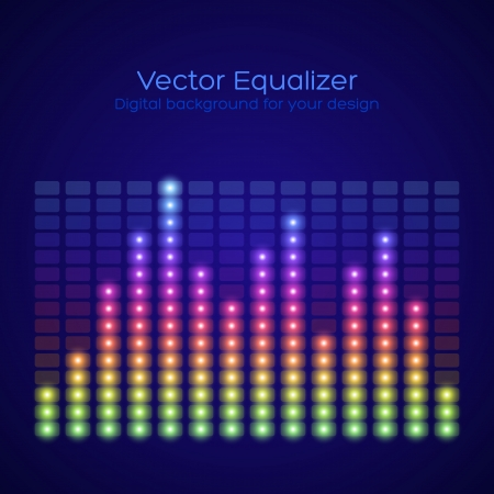 Rainbow Equalizer on dark background  Vector illustration Stock Vector - 25094687