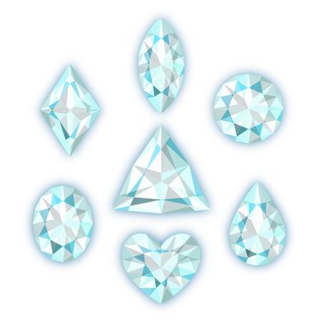 Set of seven diamonds isolated on white background