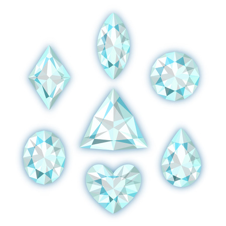 Set of seven diamonds isolated on white background Vector