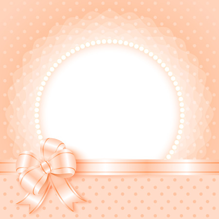 Card template with beads and bow for your photo or text