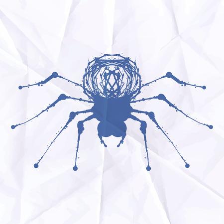 Spider blot on crumpled paper. Vector illustration Illustration