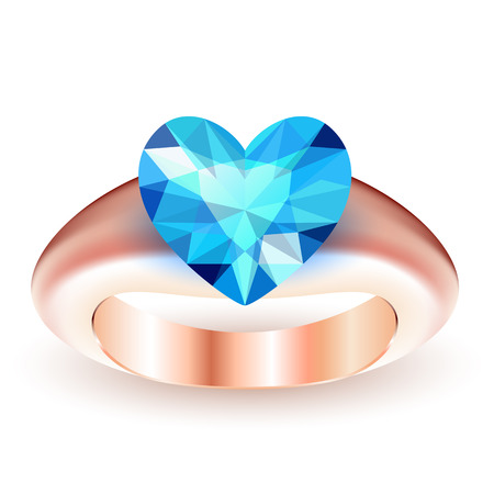 Ring with topaz heart shaped isolated on white background Vector